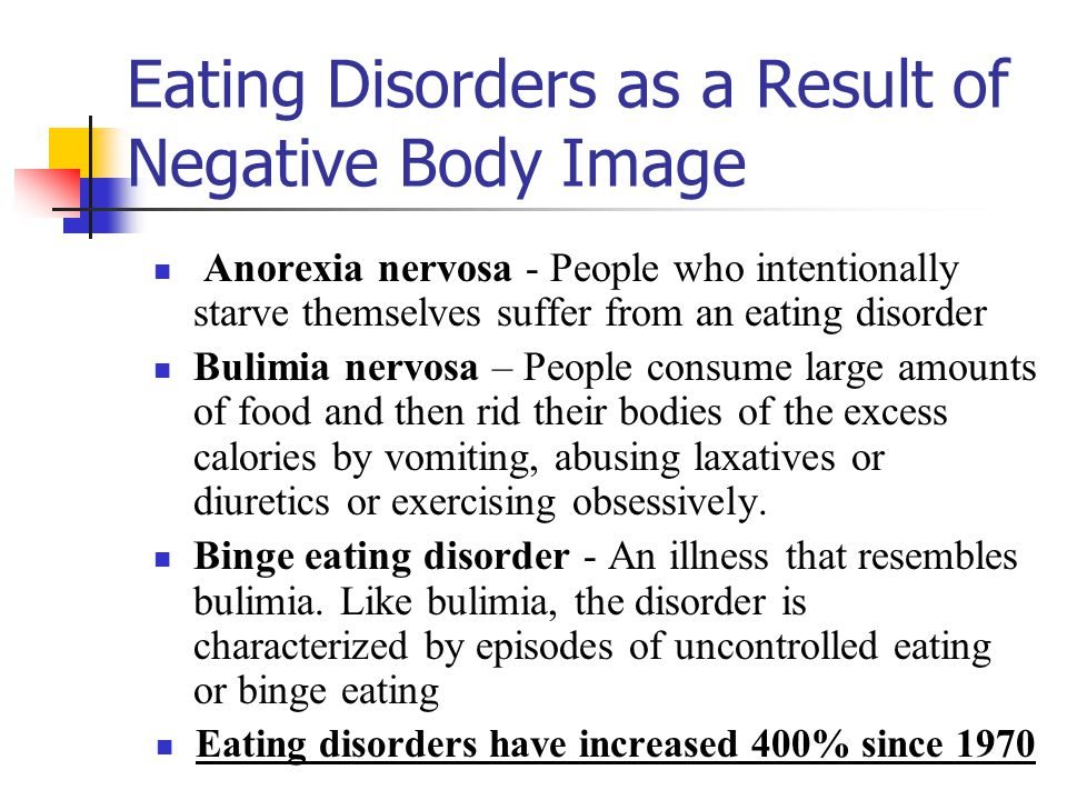 Eating Disorders as a Result of Negative Body Image Anorexia nervosa - People who intentionally starve themselves suffer from an eating disorder Bulim