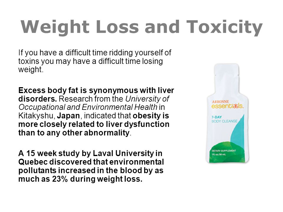 Weight Loss and Toxicity If you have a difficult time ridding yourself of toxins you may have a difficult time losing weight. Excess body fat is synon