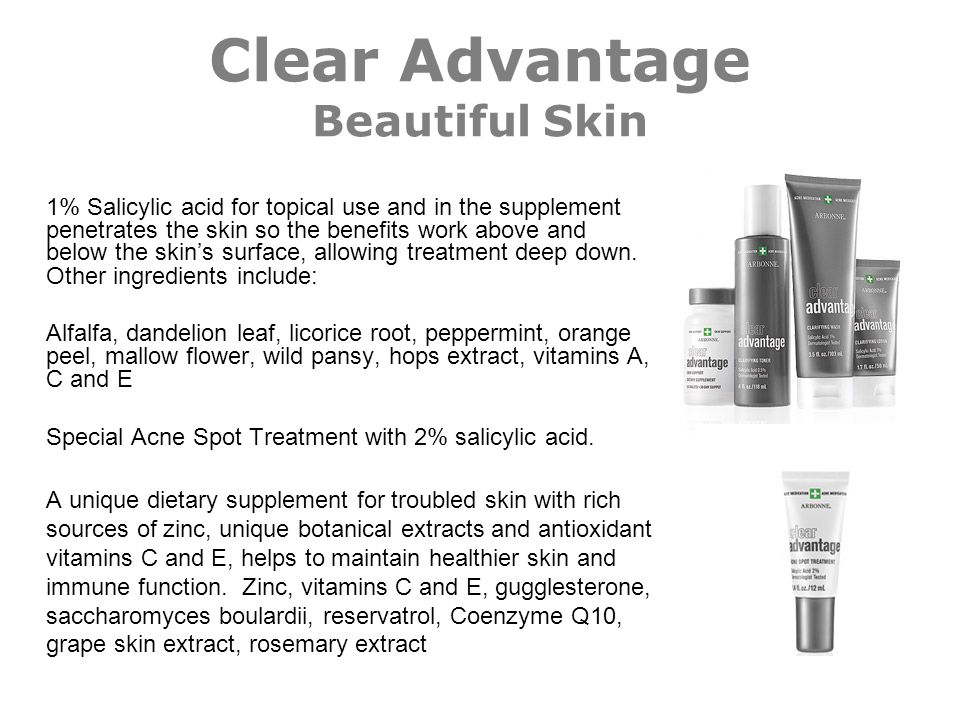 Clear Advantage Beautiful Skin 1% Salicylic acid for topical use and in the supplement penetrates the skin so the benefits work above and below the sk