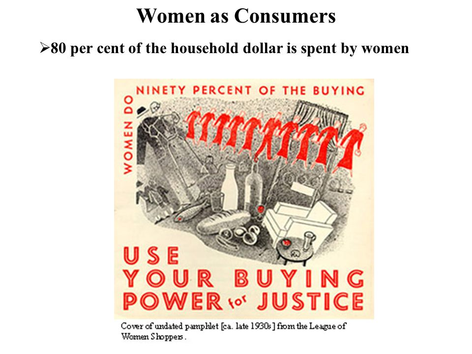 80 per cent of the household dollar is spent by women Women as Consumers