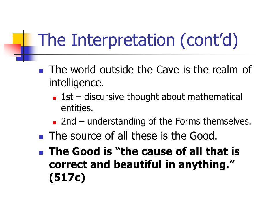The Interpretation (contd) The world outside the Cave is the realm of intelligence. 1st – discursive thought about mathematical entities. 2nd – unders