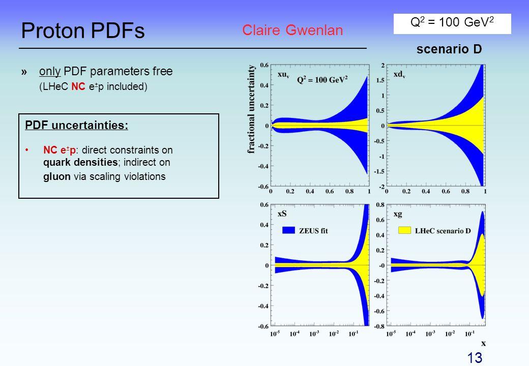 Proton PDFs »only PDF parameters free (LHeC NC e p included) Q 2 = 100 GeV 2 PDF uncertainties: NC e p: direct constraints on quark densities; indirec