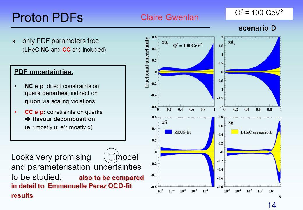 Proton PDFs Q 2 = 100 GeV 2 scenario D PDF uncertainties: NC e p: direct constraints on quark densities; indirect on gluon via scaling violations CC e
