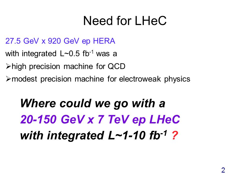 Need for LHeC 27.5 GeV x 920 GeV ep HERA with integrated L~0.5 fb -1 was a high precision machine for QCD modest precision machine for electroweak physics Where could we go with a 20-150 GeV x 7 TeV ep LHeC with integrated L~1-10 fb -1 .