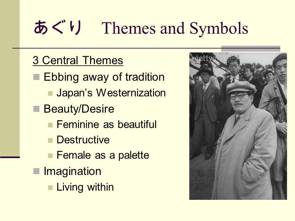 Themes and Symbols 3 Central Themes Ebbing away of tradition Japans Westernization Beauty/Desire Feminine as beautiful Destructive Female as a palette