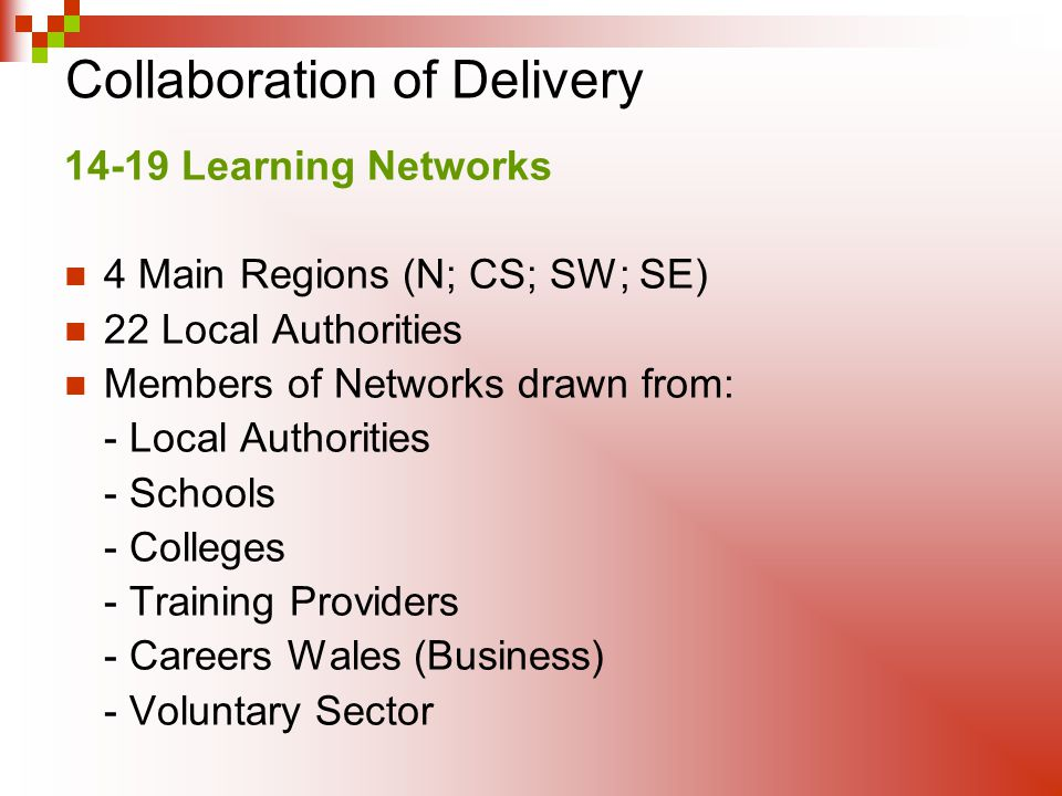 Collaboration of Delivery 14-19 Learning Networks 4 Main Regions (N; CS; SW; SE) 22 Local Authorities Members of Networks drawn from: - Local Authorit