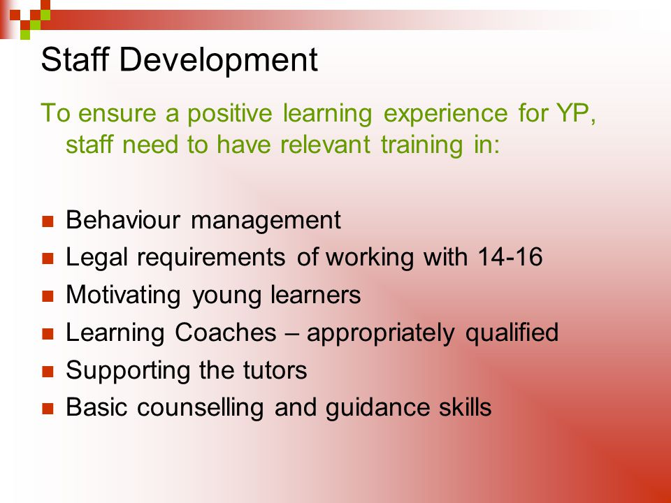 Staff Development To ensure a positive learning experience for YP, staff need to have relevant training in: Behaviour management Legal requirements of working with Motivating young learners Learning Coaches – appropriately qualified Supporting the tutors Basic counselling and guidance skills