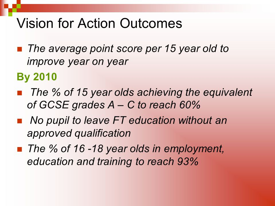 Vision for Action Outcomes The average point score per 15 year old to improve year on year By 2010 The % of 15 year olds achieving the equivalent of GCSE grades A – C to reach 60% No pupil to leave FT education without an approved qualification The % of year olds in employment, education and training to reach 93%