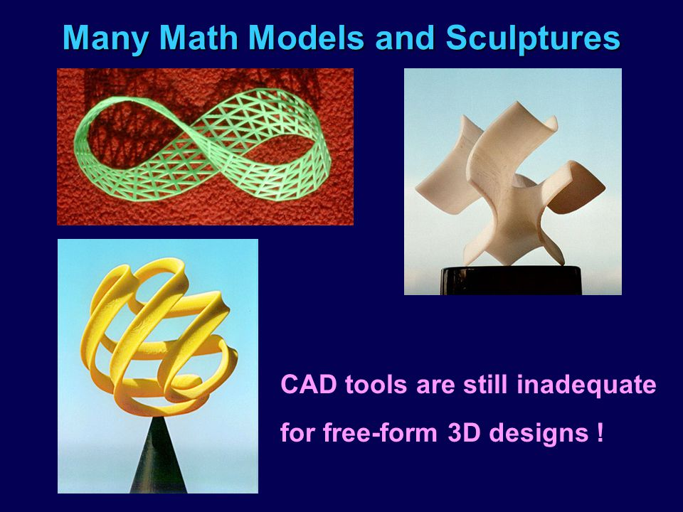 Many Math Models and Sculptures CAD tools are still inadequate for free-form 3D designs !