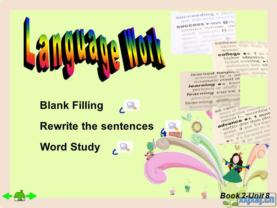 Blank Filling Rewrite the sentences Word Study Book 2-Unit 8