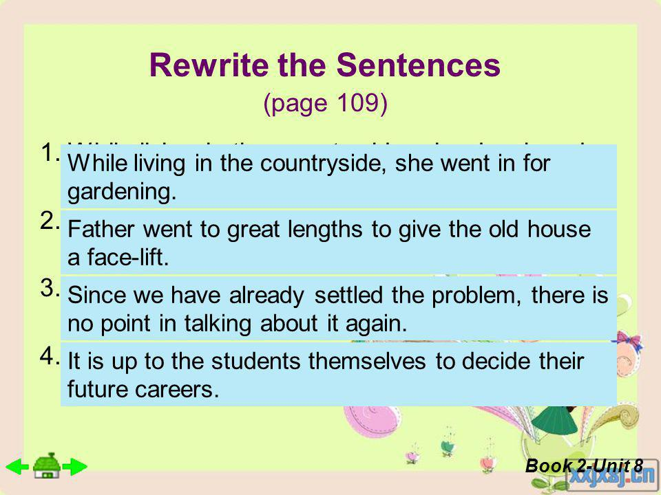 Rewrite the Sentences (page 109) 1.