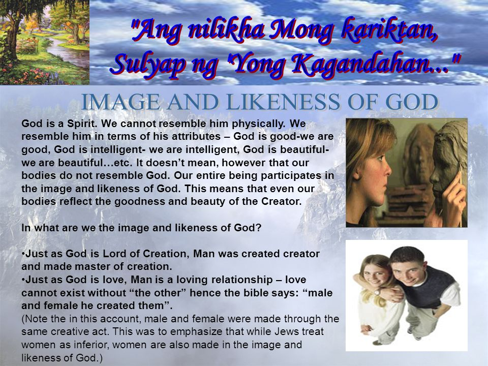 God is a Spirit. We cannot resemble him physically.