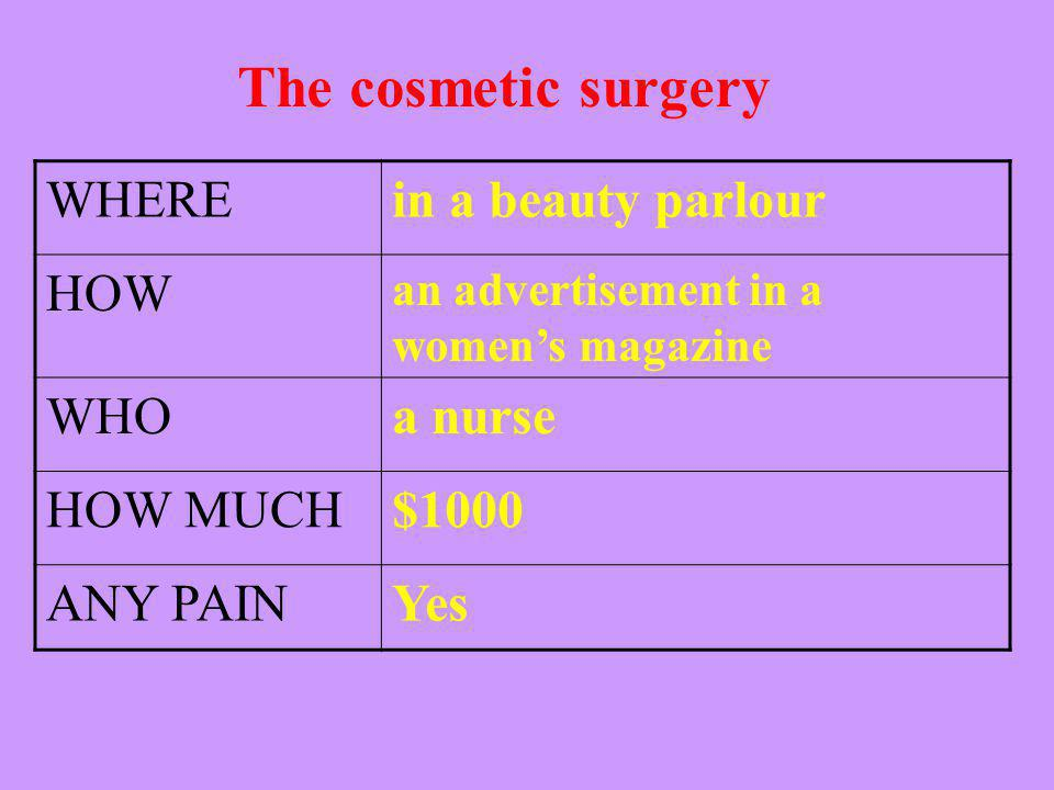 The cosmetic surgery WHEREin a beauty parlour HOWan advertisement in a womens magazine WHOa nurse HOW MUCH$1000 ANY PAIN