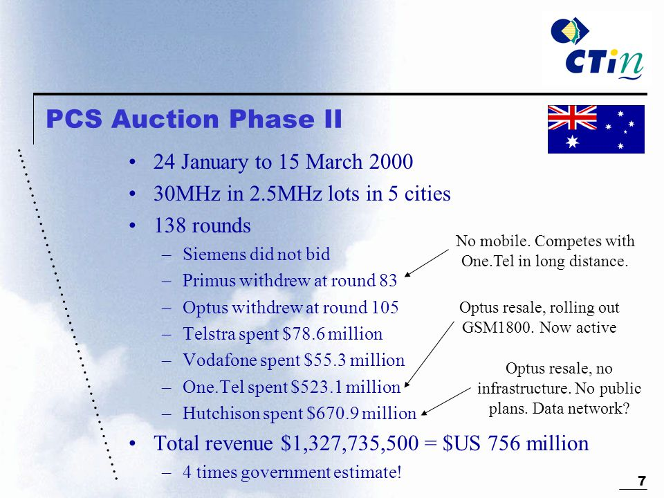 ………………………………………... 7 PCS Auction Phase II 24 January to 15 March 2000 30MHz in 2.5MHz lots in 5 cities 138 rounds –Siemens did not bid –Primus withdre