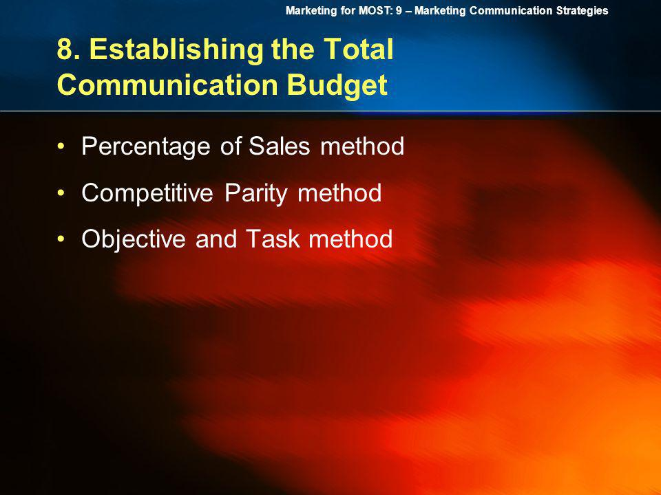 Marketing for MOST: 9 – Marketing Communication Strategies 8. Establishing the Total Communication Budget Percentage of Sales method Competitive Parit