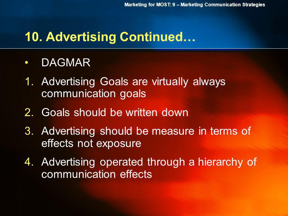Marketing for MOST: 9 – Marketing Communication Strategies 10. Advertising Continued… DAGMAR 1.Advertising Goals are virtually always communication go