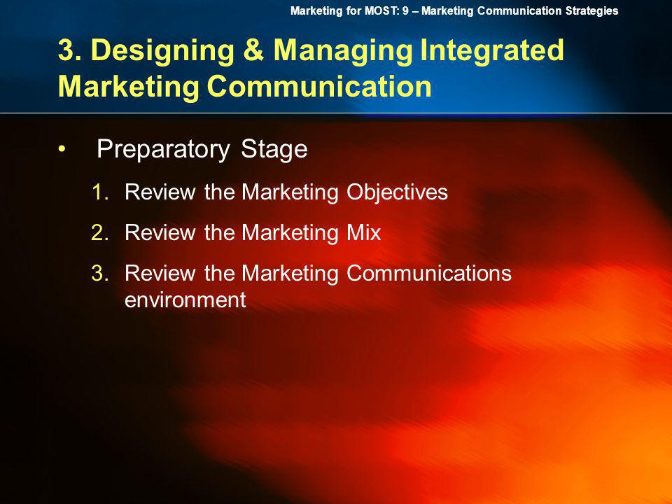 Marketing for MOST: 9 – Marketing Communication Strategies 3. Designing & Managing Integrated Marketing Communication Preparatory Stage 1.Review the M