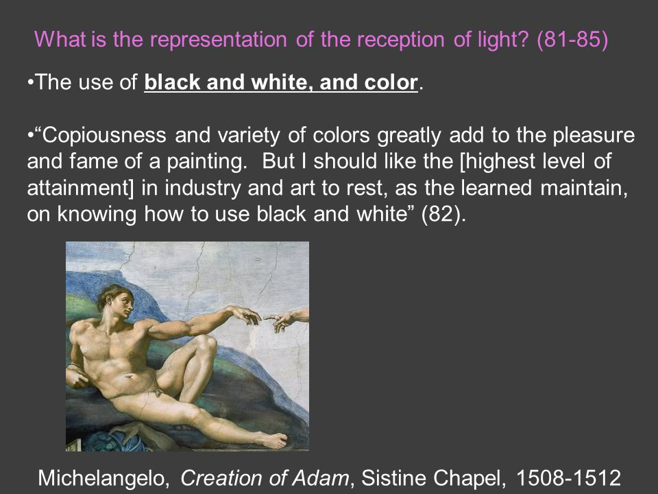 What is the representation of the reception of light.