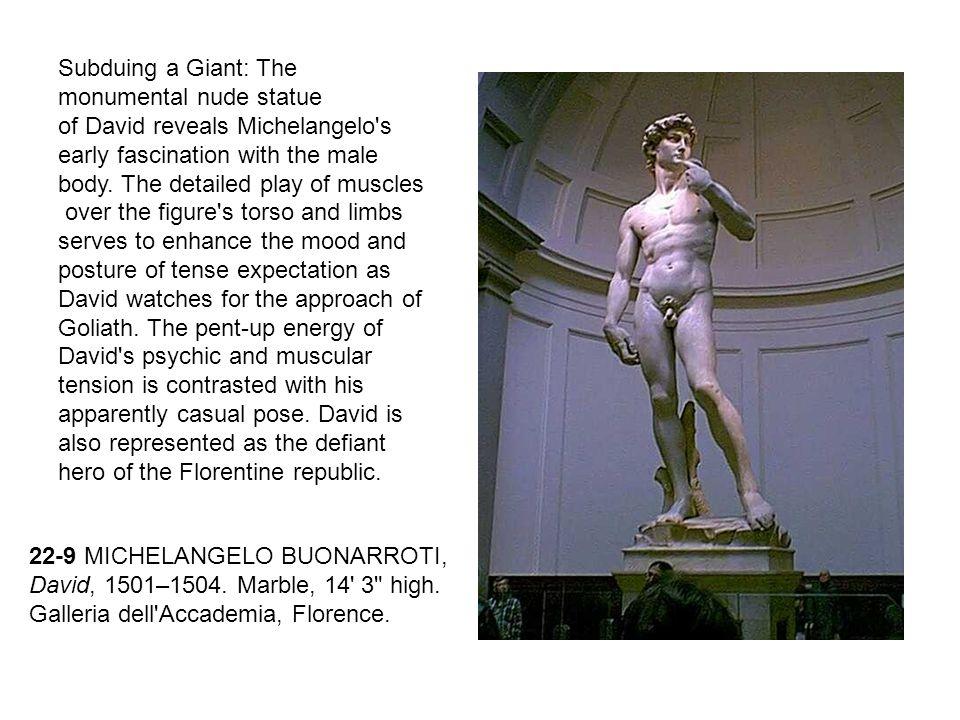 22-9 MICHELANGELO BUONARROTI, David, 1501–1504. Marble, 14' 3