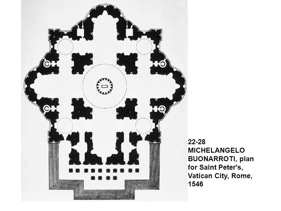 22-28 MICHELANGELO BUONARROTI, plan for Saint Peter's, Vatican City, Rome, 1546