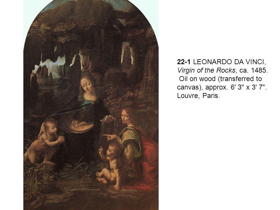 22-1 LEONARDO DA VINCI, Virgin of the Rocks, ca. 1485. Oil on wood (transferred to canvas), approx. 6' 3