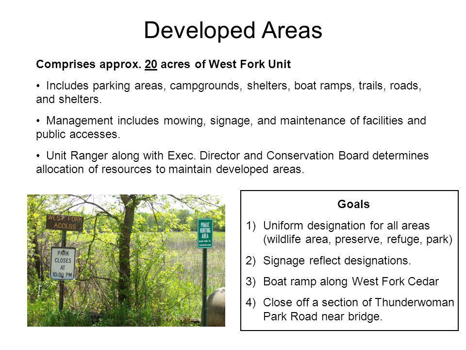 Developed Areas Comprises approx. 20 acres of West Fork Unit Includes parking areas, campgrounds, shelters, boat ramps, trails, roads, and shelters. M
