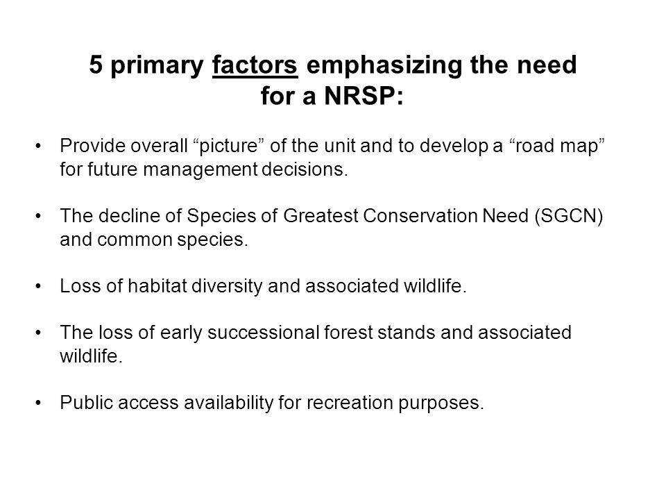5 primary factors emphasizing the need for a NRSP: Provide overall picture of the unit and to develop a road map for future management decisions. The