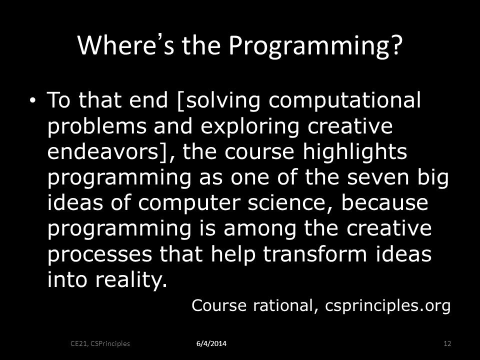 Wheres the Programming.