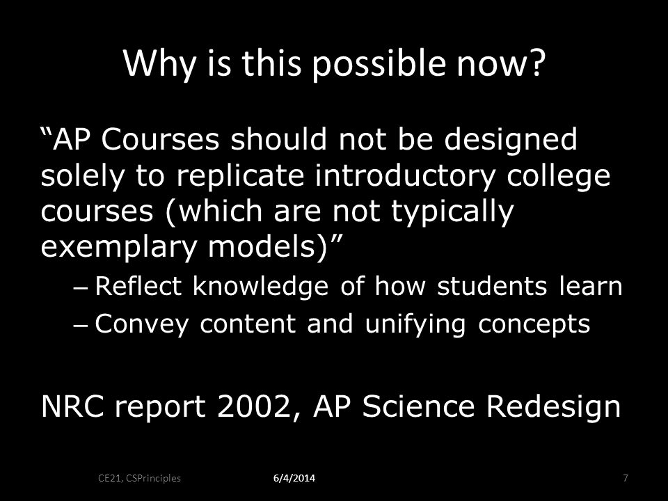 Engineering a Course and Exam CE21, CSPrinciples86/4/2014
