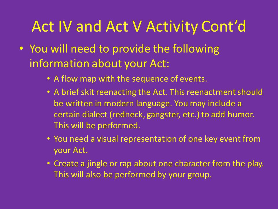 Act IV and Act V Activity Contd You will need to provide the following information about your Act: A flow map with the sequence of events. A brief ski