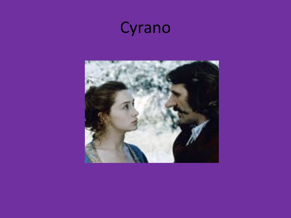 Three Main Characters: Cyrano de Bergerac: He is a long-nosed, fencing, poetry writing, fighting, loving, man convinced that no one will ever love him because of his ugly features Christian: dumb as a rock, Gascon (soldier) of Cyranos, handsome, loves Roxane and wishes to win her, but fears he cant because of his lack of expression.