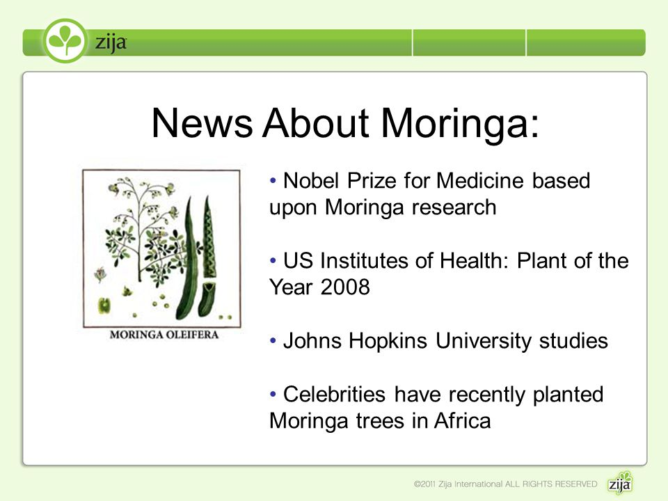 News About Moringa: Nobel Prize for Medicine based upon Moringa research US Institutes of Health: Plant of the Year 2008 Johns Hopkins University stud