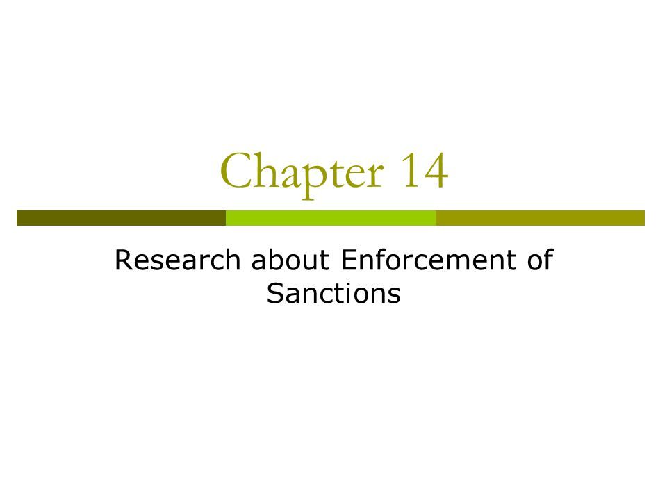 Chapter 14 Research about Enforcement of Sanctions