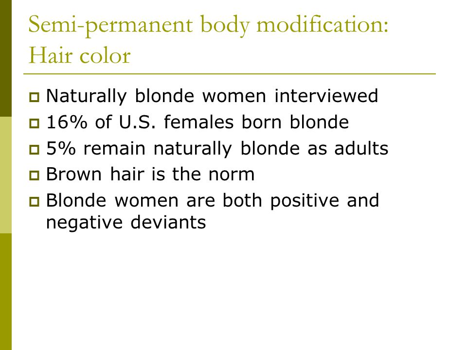 Semi-permanent body modification: Hair color Naturally blonde women interviewed 16% of U.S.