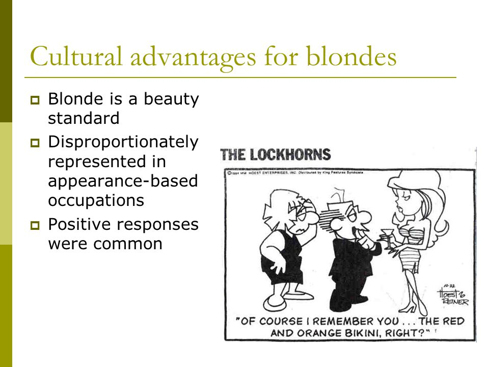 Cultural advantages for blondes Blonde is a beauty standard Disproportionately represented in appearance-based occupations Positive responses were common
