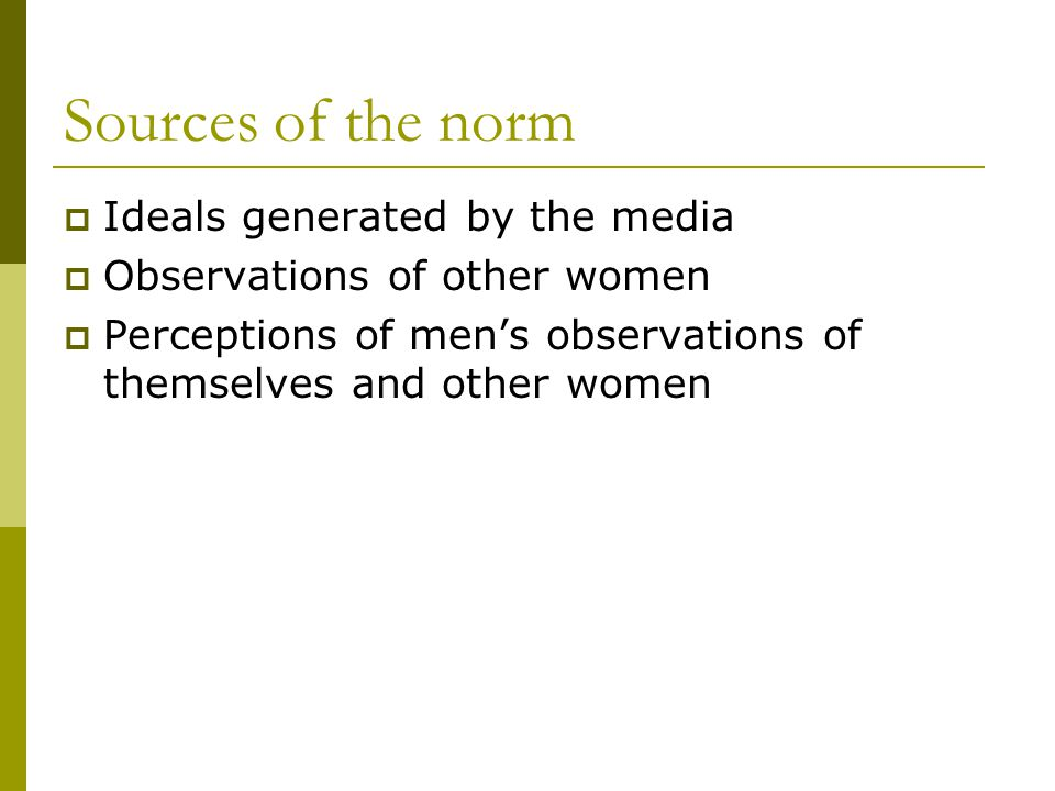 Sources of the norm Ideals generated by the media Observations of other women Perceptions of mens observations of themselves and other women