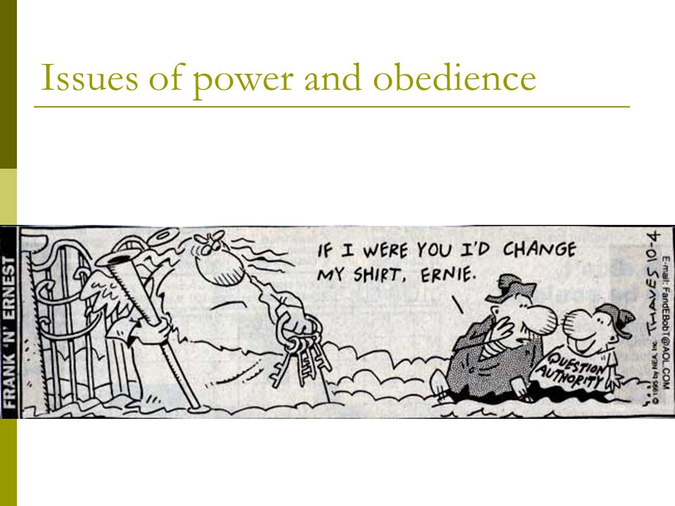 Issues of power and obedience
