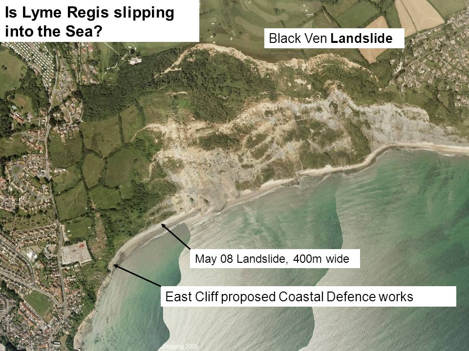 East Cliff proposed Coastal Defence works May 08 Landslide, 400m wide Black Ven Landslide Is Lyme Regis slipping into the Sea?