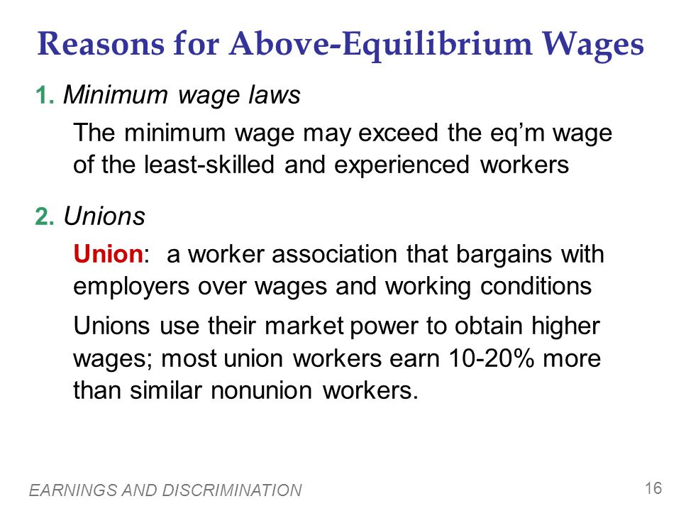 EARNINGS AND DISCRIMINATION 16 Reasons for Above-Equilibrium Wages 1. Minimum wage laws The minimum wage may exceed the eqm wage of the least-skilled
