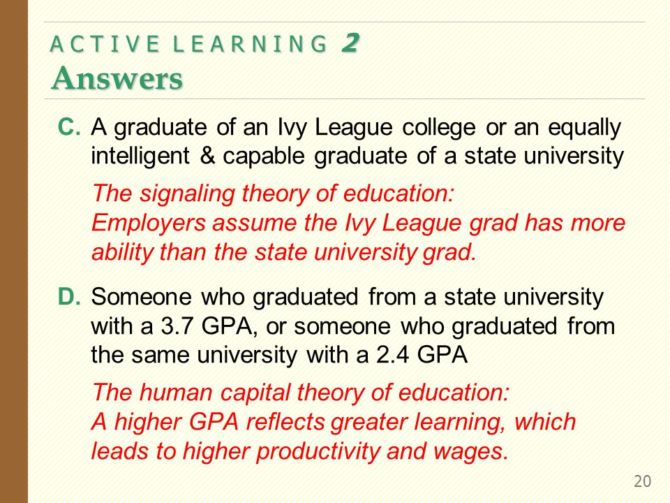 C.A graduate of an Ivy League college or an equally intelligent & capable graduate of a state university The signaling theory of education: Employers