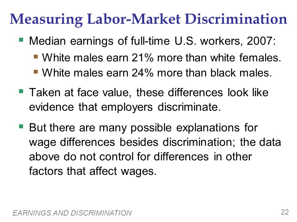 EARNINGS AND DISCRIMINATION 22 Measuring Labor-Market Discrimination Median earnings of full-time U.S. workers, 2007: White males earn 21% more than w