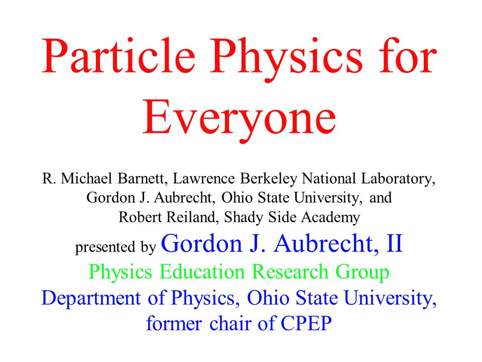 Abstract: Particle physics has generated intense interest in physics during the past half century.