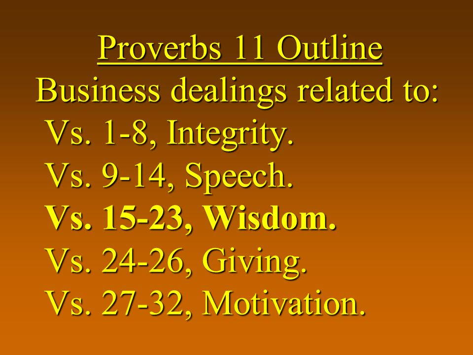 Proverbs 11 Outline Business dealings related to: Vs.