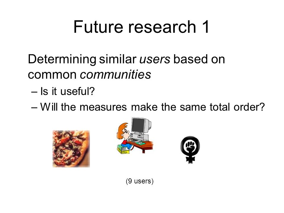 Future research 1 Determining similar users based on common communities –Is it useful.
