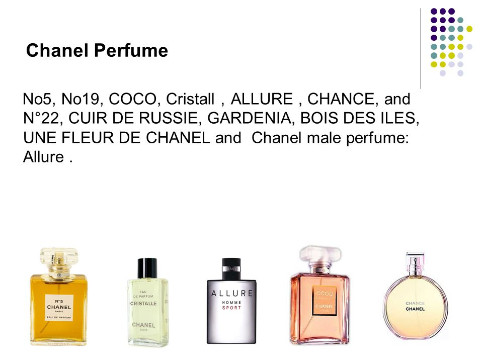 Chanel Perfume No5, No19, COCO, Cristall ALLURE, CHANCE, and N°22, CUIR DE RUSSIE, GARDENIA, BOIS DES ILES, UNE FLEUR DE CHANEL and Chanel male perfum