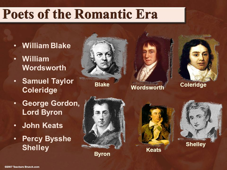 William Blake William Wordsworth Samuel Taylor Coleridge George Gordon, Lord Byron John Keats Percy Bysshe Shelley Poets of the Romantic Era Blake Coleridge Keats Shelley Wordsworth Byron