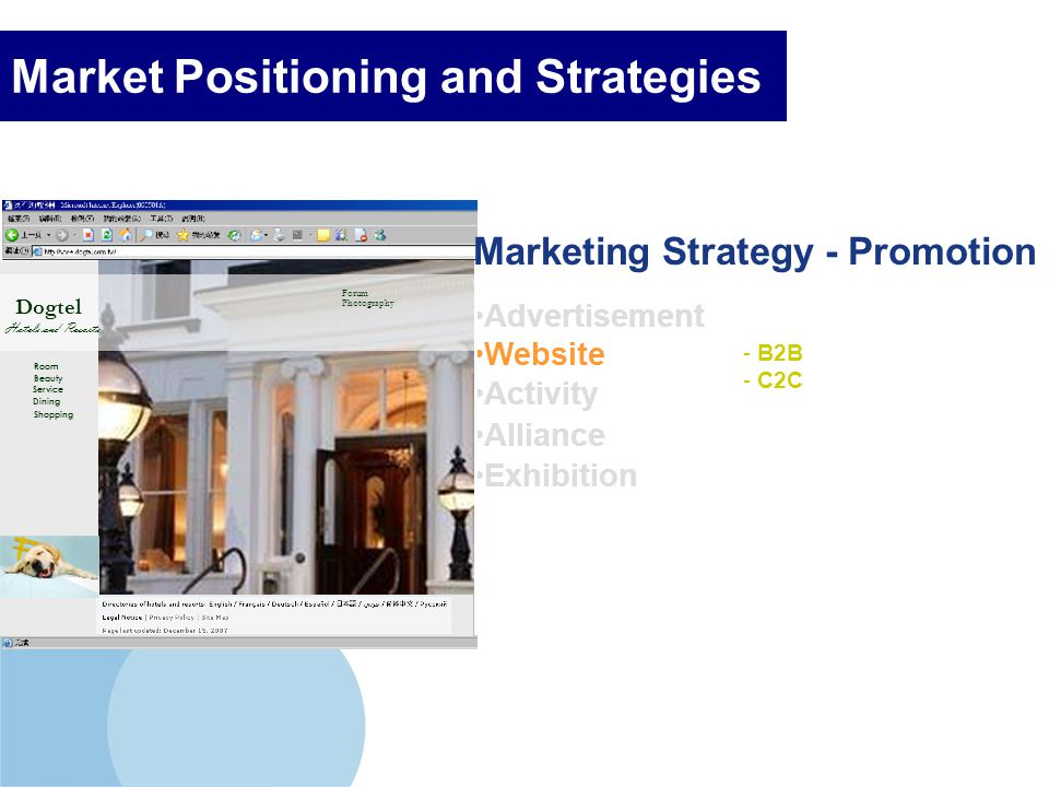 Company LOGO Market Positioning and Strategies Advertisement Activity Alliance Exhibition - B2B - C2C Website Dogtel Hotels and Resorts Room Beauty Se