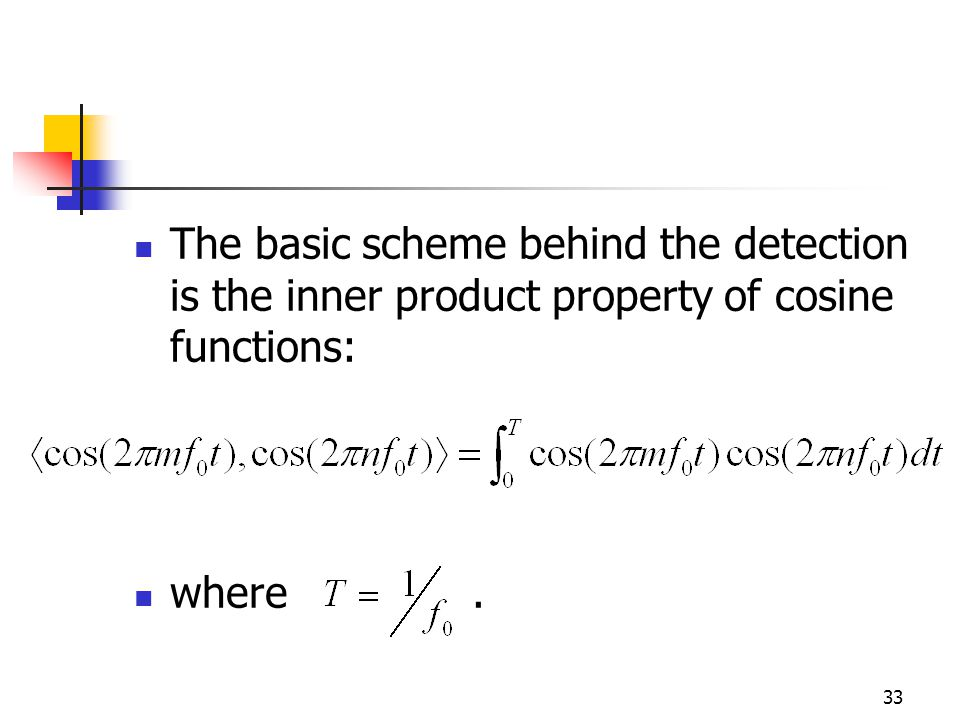 33 The basic scheme behind the detection is the inner product property of cosine functions: where.