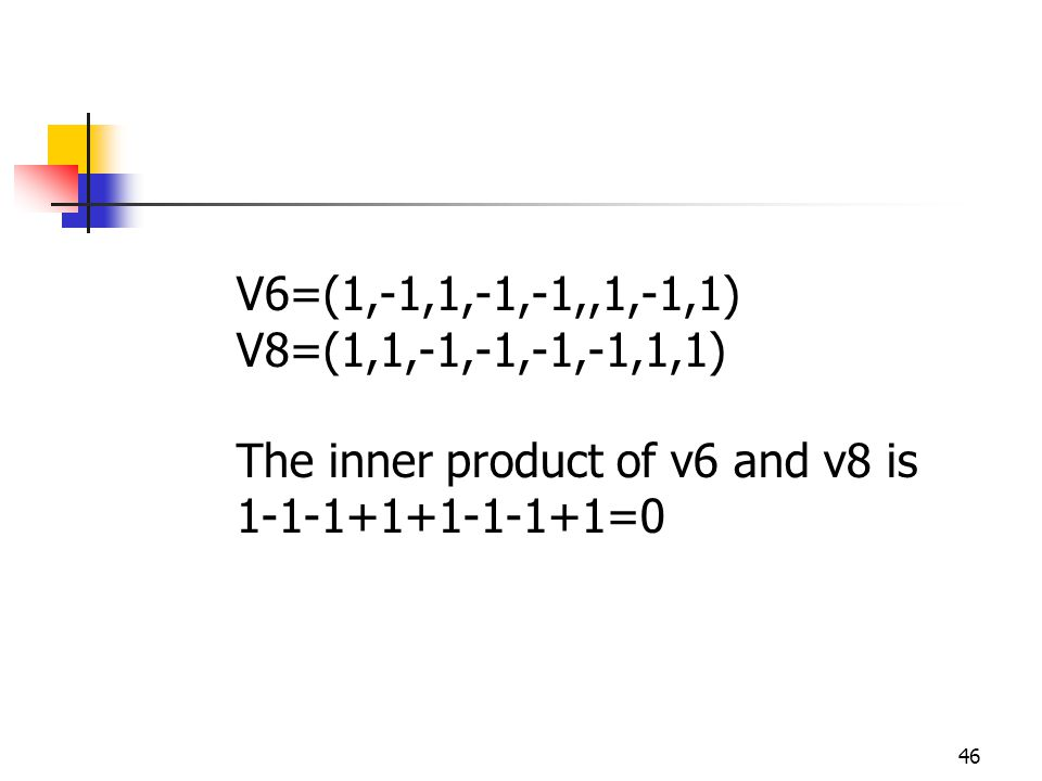 46 V6=(1,-1,1,-1,-1,,1,-1,1) V8=(1,1,-1,-1,-1,-1,1,1) The inner product of v6 and v8 is 1-1-1+1+1-1-1+1=0