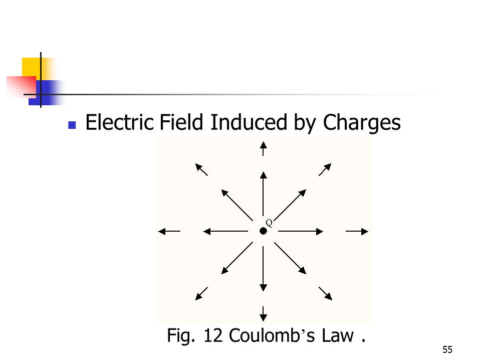55 Electric Field Induced by Charges Fig. 12 Coulomb s Law.